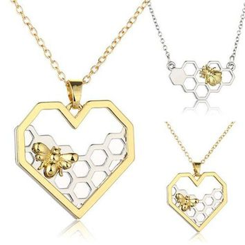 ac PEAPO2Q 2017 Women Necklace Heart Gold/Silver Color Honeycomb Bee Animal Pendant  45cm Jewelry Party Prom Gift