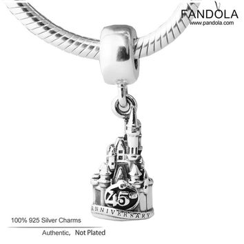 925 Sterling Silver Cinderella Castle Magic Kingdom 45th Anniversary Charms Beads for Jewelry Making Fits Pandulaso Bracelets