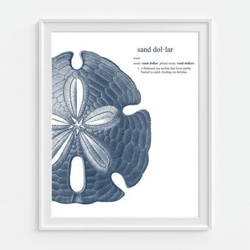 Sand Dollar Dictionary Art Print Nautical Beach Ocean, Beach Decor 5x7, 8X10, 11x14 Sea Life, Seashell, Sea Animal, Home Decor Wall Decor