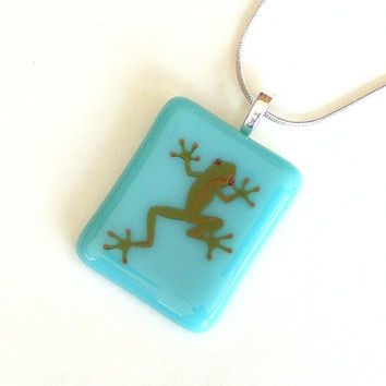 Fused Glass Pendant Necklace - Teal Blue with Green Lizard Decal