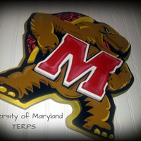 Large Custom 3D Maryland TERPS  University Football Basketball Soccer Turtle MD College Park WOOD
