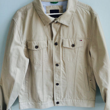 tommy hilfiger twill denim jacket / large