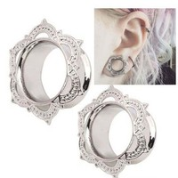 1 Piece New Women Men Flower Flared Flesh Tunnel Ear Plugs Copper Ear Expander Gauge Body Piercing Jewelry Orelha Cartilagem