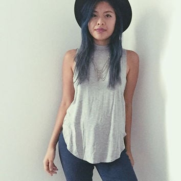 Grey Mockneck Tank Side Cut Outs .