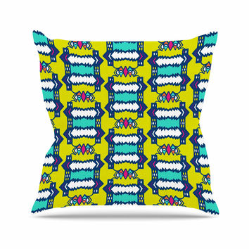 "Miranda Mol ""Party Vibes"" Yellow Teal Outdoor Throw Pillow"