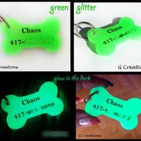 Glow in the DARK Bone Dog Tag - Dog ID - Pet Tag - Resin Handmade Kawaii - Dog Accessories - Luminous - Resin - Dog Collar Accessory