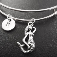 3D Mermaid Stainless Steel Expandable Bangle, monogram personalized item No.776