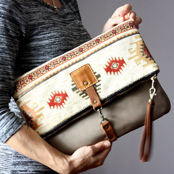 Tapestry and leather clutch, tribal leather clutch, bohemian chic purse, kilim bag, fold over clutch, crossbody leather bag, VitalTemptation
