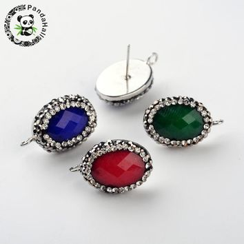 oval natural white jade rhinestone stud earrings components, with Metal tone brass findings, mixed color, 22~23x14~15x7~8mm;