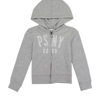 Girls aéropostale 4-6x french terry zip hoodie with glitter patch log