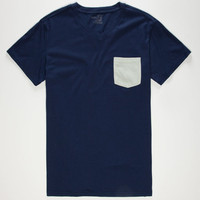 Blue Crown Mens Contrast Pocket Tee Blue  In Sizes
