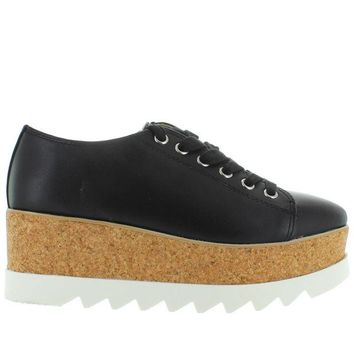 VONES2C Steve Madden Korrie - Black Leather High Platform Sneaker