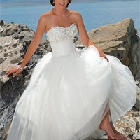 Elegant Tea-Length strapless beaded tulle white Beach Wedding Dress WDB019