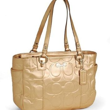 Coach Gallery Embossed E/W Tote - Gold