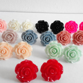 Big Statement Rose Flower Colour Cabochon Stud Earrings