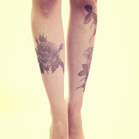 Black Flowers Tattoo Stockings - Free Shipping - Made to order :)