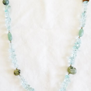 Necklace, Aquamarine, Green Aventurine, Jasper, Hand Crafted, March Birthstone