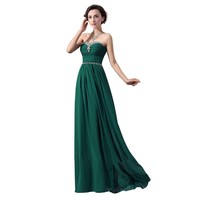 Fashion Plaza Strapless Rhinestones Long Bridesmaid Formal Evening Cocktail Party Dress D0118 (US6, Dark Green)