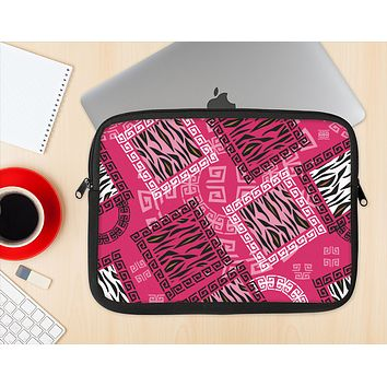 The Pink Patched Animal Print Ink-Fuzed NeoPrene MacBook Laptop Sleeve