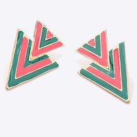 Contrast Twin Triangle Earrings