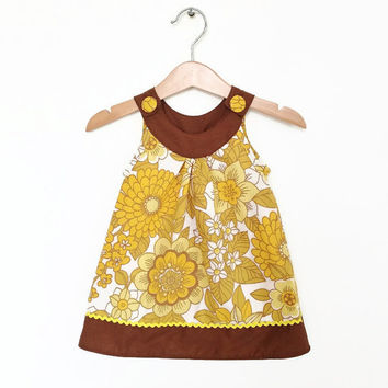 Baby dress, 6 to 12 months, mustard yellow vintage florals, retro baby clothes, infant dress, baby girl dress, baby girl clothes UK