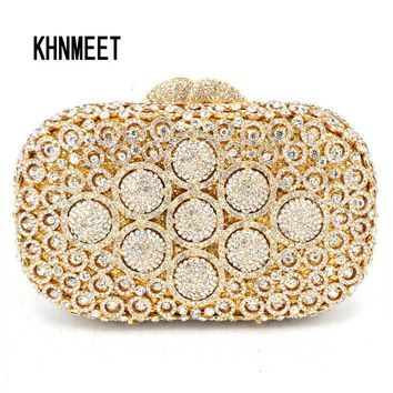Luxury Diamond Gold evening bags women crystal Box clutch bags circle bling diamante bags multicolor wedding party purse SC101