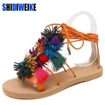 Summer New Colorful Fringe Flower Ball PomPom Sandals Sandals Flat with Roman Gladiato