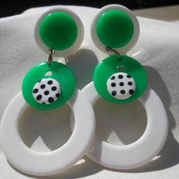 Large Green Dangle Polka Dot Earrings White Plastic 1980s Jewelry Post 3 inches long Layered Abstract Pin Up Costume Summer Fun Retro Design