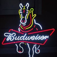 Budweiser Horser Neon Sign Real Neon Light