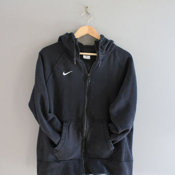 Nike Zip up Hoodie Black Hooded Sweatshirt White Logo Fleece Lining Hoodie Grunge Jacket Hipster Minimalist 90s Vintage Size M - L