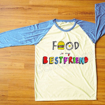 Food Is My BestFriend T-Shirt Hamburger Shirt Colorful T-Shirt Blue Sleeve Shirt Women Shirt Men Shirt Unisex Shirt Baseball Tee Shirt S,M,L