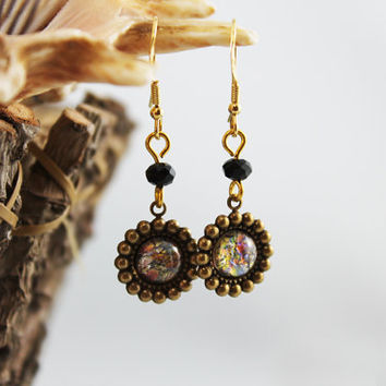 Pretty Gold and Brass Dangle Earrings, Victorian Inspired