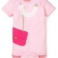 Chic Designer Bag & Pearls Baby Bodysuit by Sara Kety - Pink - Size 0-6 or 6-12 Months