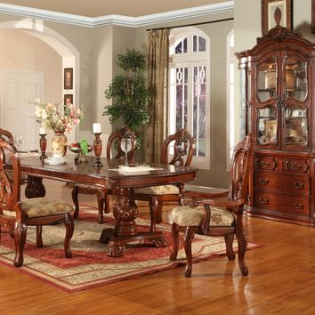 7 pc Charissa collection brown finish wood double pedestal dining table set with intricate carvings