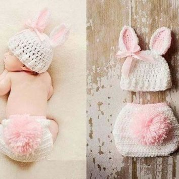 Rabbit bunny hats + shorts sets suits  Handmade outfits newborn infant baby boys prince Girls Animal Costume Crochet Clothing