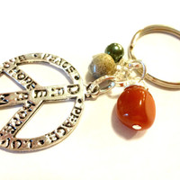 Earthy Gemstone Key Ring, Cool Peace Sign Keychain, Cool Gift