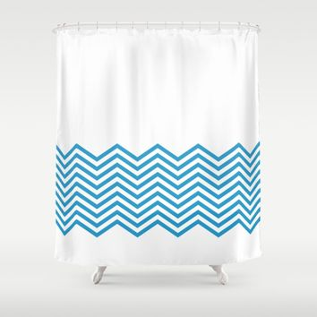 Blue Chevron Shower Curtain by Purple Mint