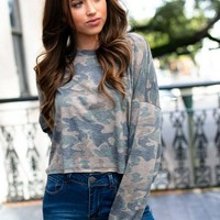 Thinking Back Camo Oversize Crop Top