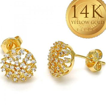 Gold Layered Women Stud Earring, with White Micro Pave, by Folks Jewelry