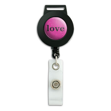 Love Artsy Pink Retractable Badge Card ID Holder