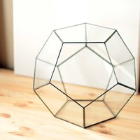 Large Geometric Glass Terrarium / Dodecahedron / Handmade Glass Terrarium / Modern Planter for Indoor Gardening / Stained Glass Terrarium