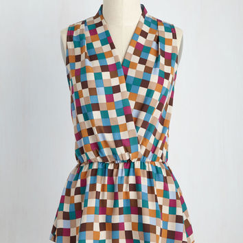 Great Gal in the Corner Office Sleeveless Top in Checkers | Mod Retro Vintage Short Sleeve Shirts | ModCloth.com