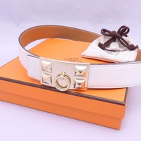 Auth HERMES Square N(2010) Collier de Chien Reversible Waist Belt