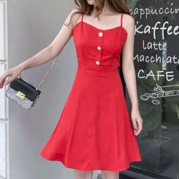 Fashion New Solid Color Straps Dress Women Red