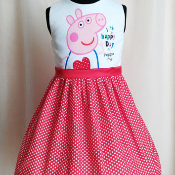 Birthday Peppa Pig Dress, Polkadot Peppa Dress, Peppa pig tulle dress, Peppa Pig Dress, Party dress, Peppa Pig Party, girls dress