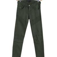 Olive Green Moto Skinny Jeans by Flying Monkey