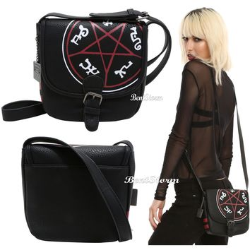 Licensed cool Licensed CW Supernatural Devil's Trap Rune Symbol Saddle Bag Crossbody Purse NEW