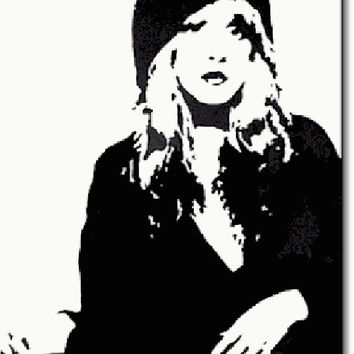 Stevie Nicks Black and White Acrylic Popart Painting