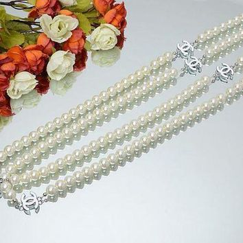PEAPYV2 Chanel Woman Fashion Logo Pearls Necklace