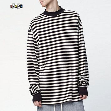 Fashion Men's Oversized Hoodies Plus Size Street White Black Striped Loose Baggy Hoody Long Sleeve Hoodie Men For Hipster
